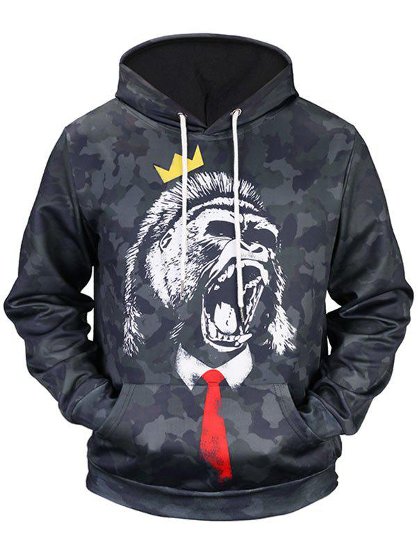 Roar Gorilla Print Kangaroo Pocket Camo HoodieMEN<br><br>Size: 3XL; Color: BLACK; Material: Polyester; Shirt Length: Regular; Sleeve Length: Full; Style: Casual; Patterns: Animal; Weight: 0.5100kg; Package Contents: 1 x Hoodie;