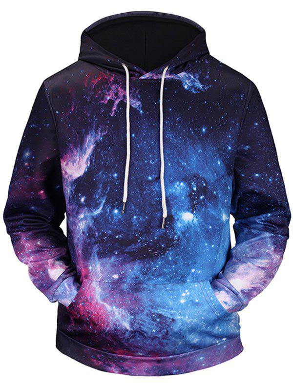Kangaroo Pocket 3D Galaxy Print HoodieMEN<br><br>Size: 2XL; Color: COLORMIX; Material: Polyester; Shirt Length: Regular; Sleeve Length: Full; Style: Casual; Patterns: 3D; Weight: 0.5100kg; Package Contents: 1 x Hoodie;