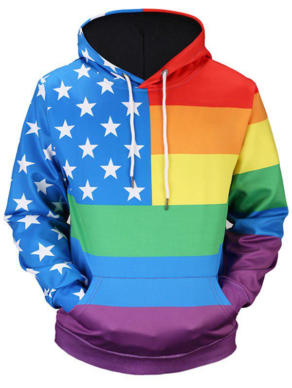 Kangaroo Pocket Rainbow Stripe Star HoodieMEN<br><br>Size: 3XL; Color: COLORMIX; Material: Polyester; Shirt Length: Regular; Sleeve Length: Full; Style: Casual; Patterns: Flags; Weight: 0.5100kg; Package Contents: 1 x Hoodie;