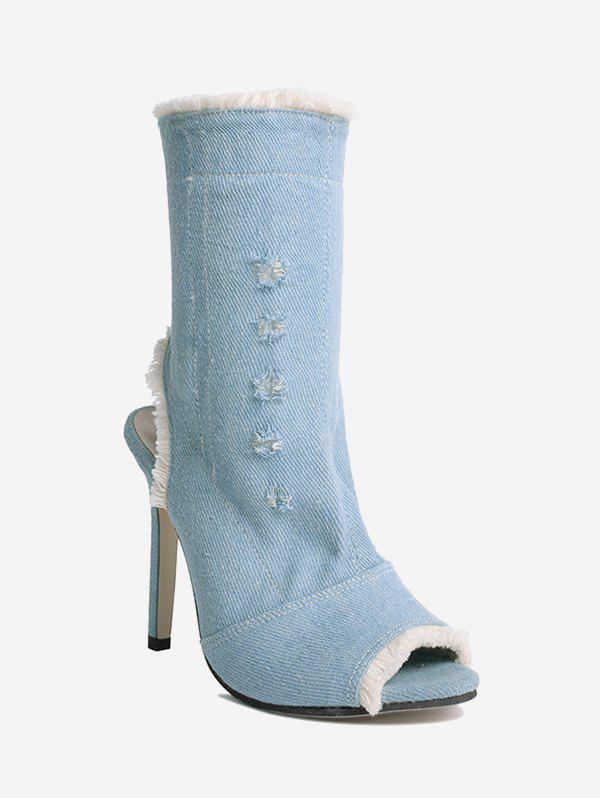 Shops Stiletto Heel Peep Toe Denim Boots