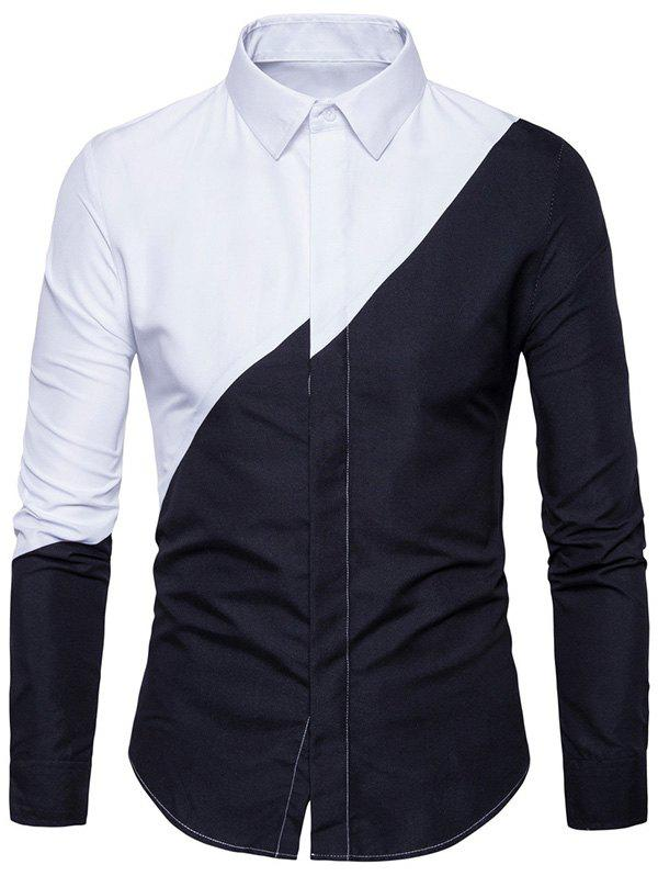 Long Sleeve Irregular Panel Two Tone ShirtMEN<br><br>Size: 2XL; Color: BLACK; Shirts Type: Casual Shirts; Material: Cotton,Polyester; Sleeve Length: Full; Collar: Turndown Collar; Pattern Type: Patchwork; Weight: 0.2900kg; Package Contents: 1 x Shirt;