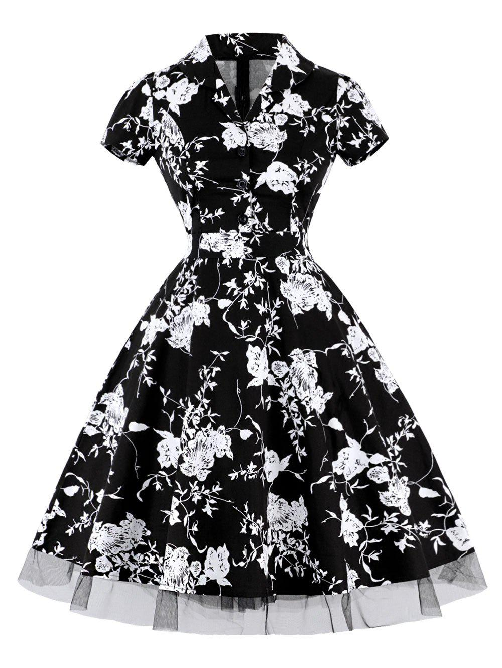 Cheap Vintage Floral High Waist A Line Dress