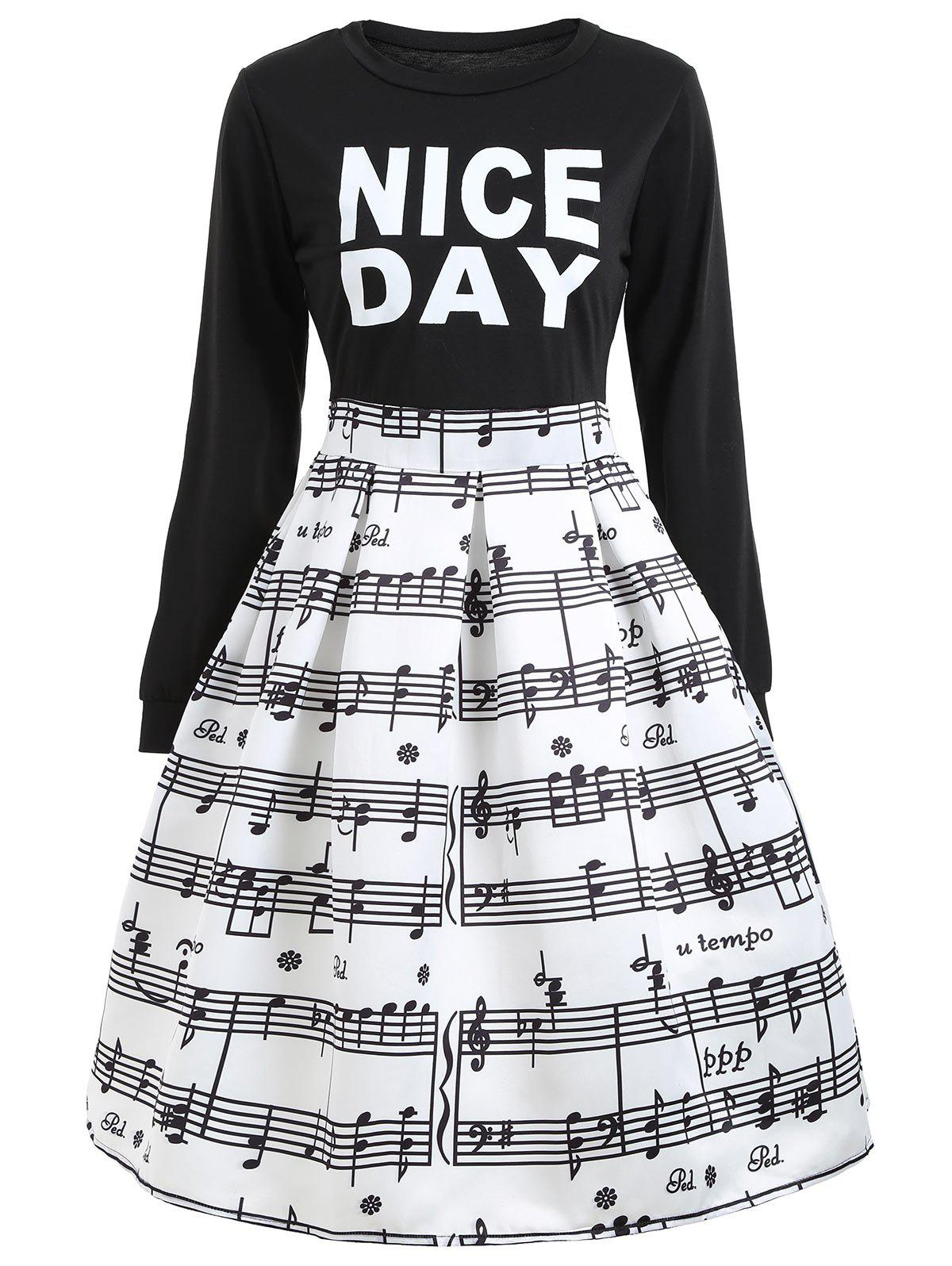 Shops Flare Dressd with Music Note Print