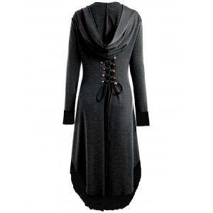 High Low Hooded Plus Size Lace-up Coat - DEEP GRAY 5XL
