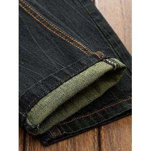 Patches Straight Leg Jeans - BLACK 40