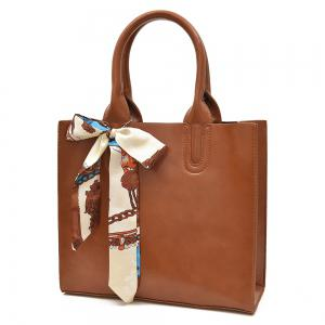 Faux Leather Scarf Knotted Handbag - BROWN