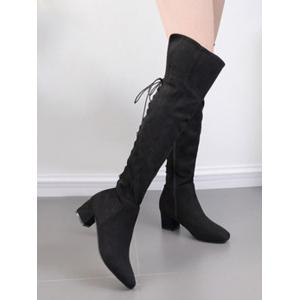 Chunky Heel Tie Up Over The Knee Boots - BLACK 35