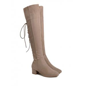Chunky Heel Tie Up Over The Knee Boots - Abricot 39