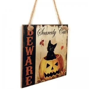 Halloween Pumpkin Cat Pattern Door Hanging Wooden Sign - COLORMIX