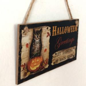 Halloween Greetings Pattern Door Decor Wooden Hanging Sign -