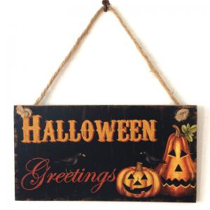 Halloween Pumpkin Pattern Door Decor Wooden Hanging Sign -