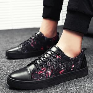 Print Low Top Tie Up Chaussures de skate - Noir Rouge 39