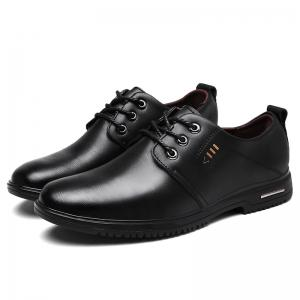 Stitching Metal Faux Leather Formal Shoes - BLACK 39