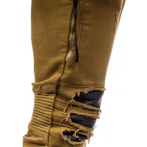 Beam Feet PU Insert Distressed Biker Jeans - BROWN 38