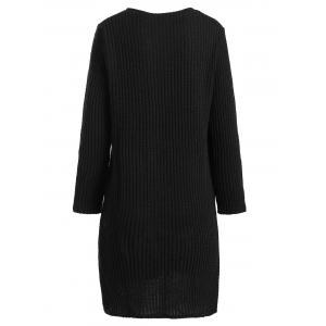 Plus Size Long Sleeve Ribbed Sweater Dress -