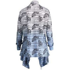Music Note Butterfly Plus Size Ombre Cardigan - BLUE AND WHITE XL