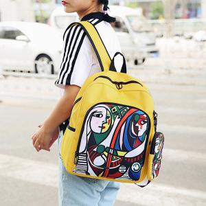 Side Pockets Hand Painting 2 Pieces Backpack Set - YELLOW