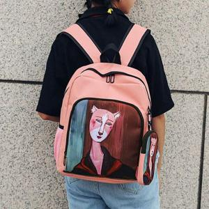 Side Pockets Hand Painting 2 Pieces Backpack Set -
