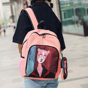 Side Pockets Hand Painting 2 Pieces Backpack Set - PINK