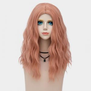 Medium Center Parting Fluffy Water Wave Synthetic Party Wig - Rose Fumé