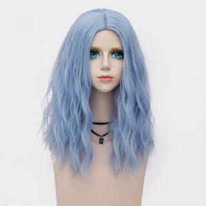Medium Center Parting Fluffy Water Wave Synthetic Party Wig -