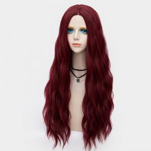 Long Middle Part Fluffy Water Wave Synthetic Party Wig - DARK RED