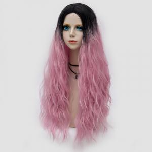 Long Middle Part Fluffy Water Wave Synthetic Party Wig - LIGHT PINK