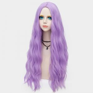 Long Middle Part Fluffy Water Wave Synthetic Party Wig - SUEDE ROSE