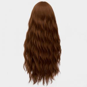 Long Middle Part Fluffy Water Wave Synthetic Party Wig -