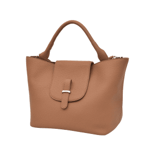 Faux Leather Top Handle Handbag - BROWN