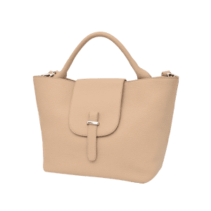 Faux Leather Top Handle Handbag - PALOMINO