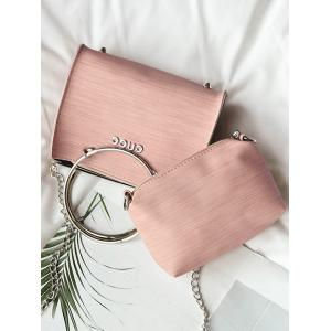 Letter Metal Ring 2 Pieces Handbag Set - PINK