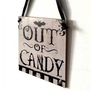 Halloween Candy Pattern Door Decor Wooden Hanging Sign -