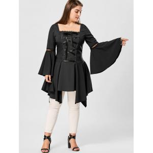 Plus Size Lace Up Handkerchief Hem Top - BLACK 5XL