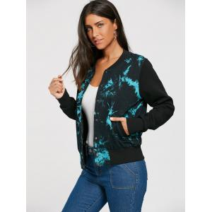 Splash Ink Print Button Up Veste de bombardement -