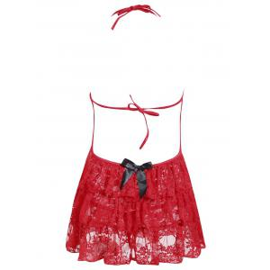 Lace Ruffles Sheer Babydoll - RED ONE SIZE