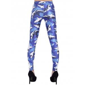 Skinny 3D Sharks Print Leggings -