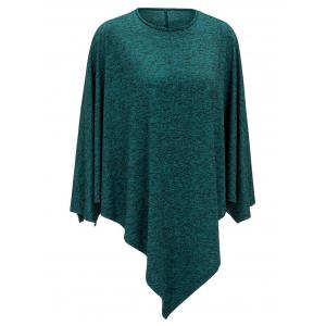 Heathered Round Neck Asymmetrical Top - GREEN M
