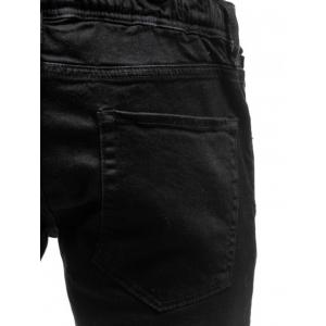 Zipper Cuff PU Insertion Dirty Danger Jeans - Noir 32