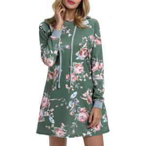Drawstring Floral Printed Hoodie Dress -