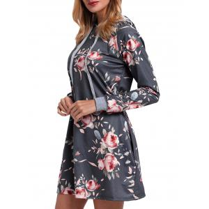 Drawstring Floral Printed Hoodie Dress - GRAY XL
