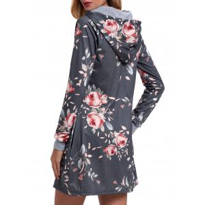 Drawstring Floral Printed Hoodie Dress - Gris XL