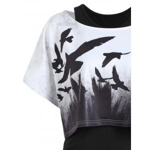 Tank Ruched Dress with Halloween Crow Top - BLACK S