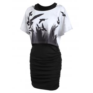 Tank Ruched Dress with Halloween Crow Top - BLACK 2XL
