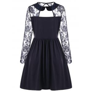 Vintage Cut Out Lace Sleeve Cocktail A Line Skater Dress -