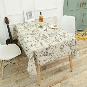 Vintage World Map Pattern Table Cloth - GRAY W24 INCH * L24 INCH