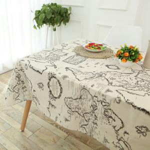 Vintage World Map Pattern Table Cloth - GRAY W55 INCH * L40 INCH