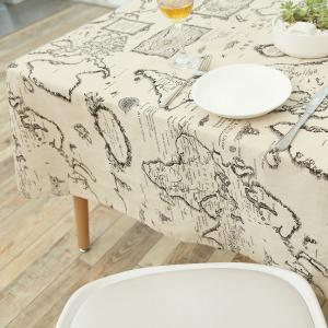 Vintage World Map Pattern Table Cloth - GRAY W55 INCH * L71 INCH