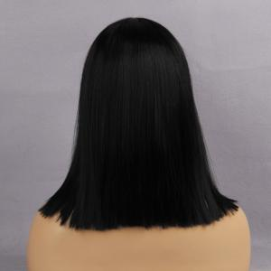 Medium Center Parting One Length Straight Bob Synthetic Wig - JET BLACK #01