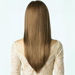 Long See-Through Bang Side Parting Layered Straight Synthetic Wig - LIGHT BROWN 24INCH